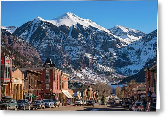 Downtown Telluride Greeting Card by Darren White