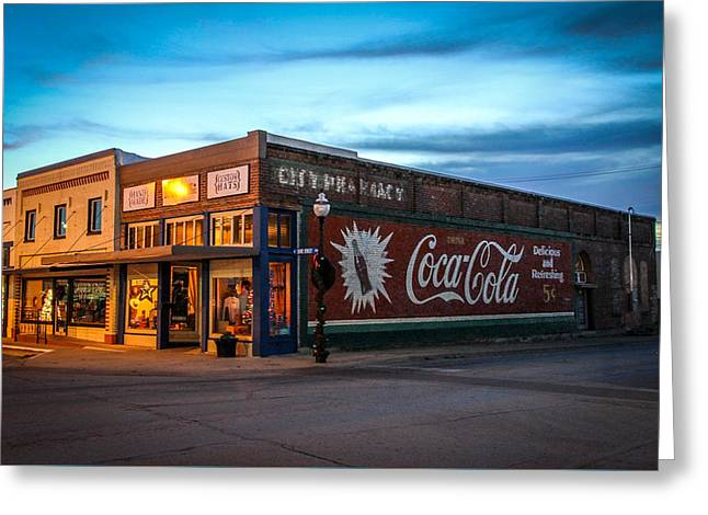 Town Square Greeting Cards - Downtown Texas Greeting Card by Leslie Gilbert