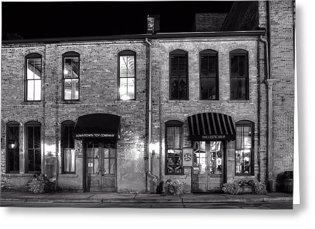 Toy Shop Greeting Cards - Downtown Toy and The Celtic Shop in Black and White Greeting Card by Greg Mimbs