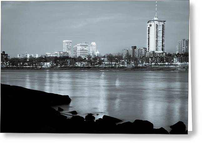 Downtown Tulsa Oklahoma - University Tower View - Black And White Greeting Card by Gregory Ballos