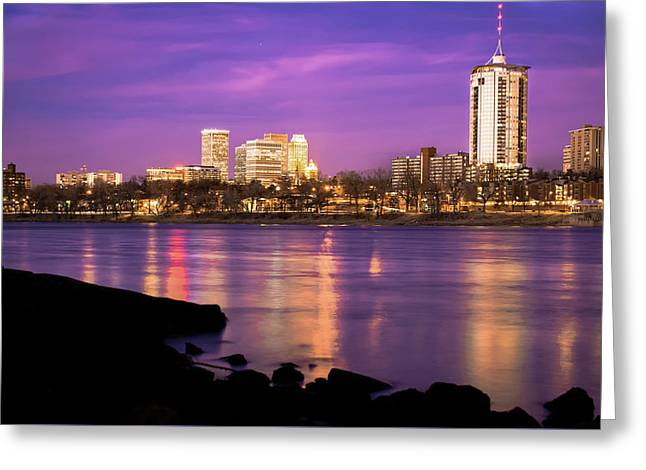 Downtown Tulsa Oklahoma - University Tower View - Purple Skies Greeting Card by Gregory Ballos