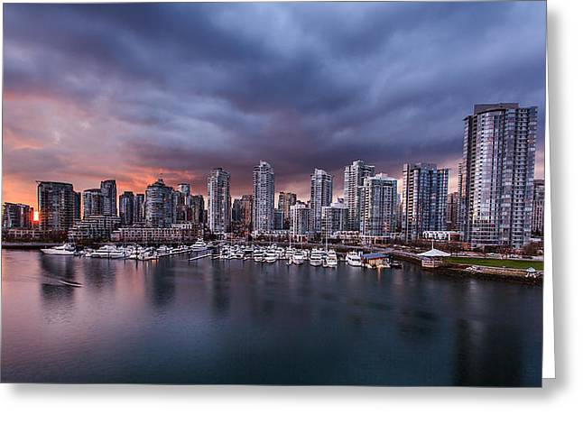 Cambie Bridge Greeting Cards - Downtown Vancouver Sunset Greeting Card by Alan W