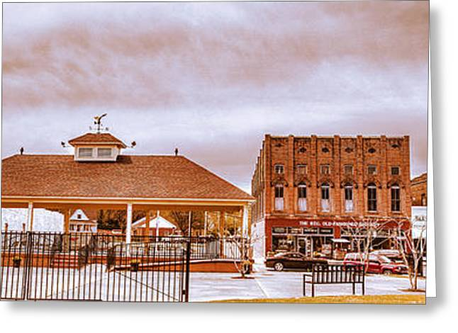 Main Street Greeting Cards - Downtown Water Valley USA - Panoramic Landscape Greeting Card by Barry Jones