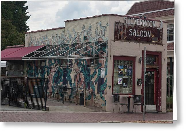 Downtown Winston Salem Series - Silvermoon Saloon Vii Greeting Card by Suzanne Gaff