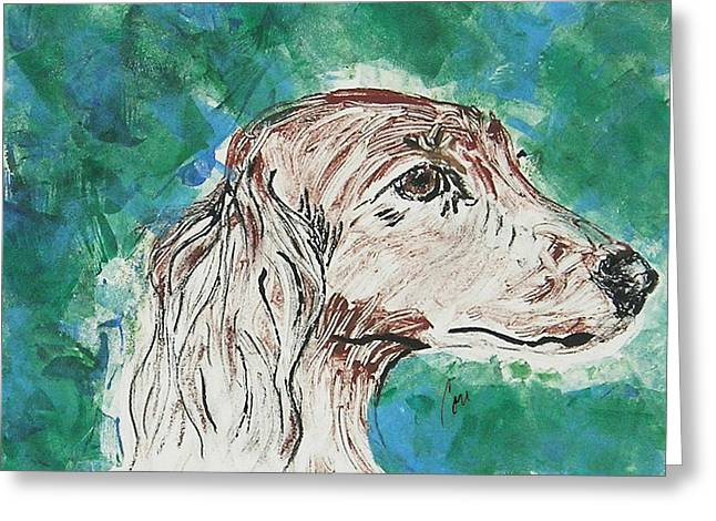 Hand Pulled Print Greeting Cards - Doxie Blues Greeting Card by Cori Solomon