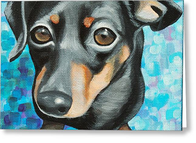 Love The Animal Greeting Cards - Doxie Eyes Greeting Card by Lauren Hammack