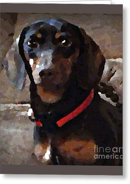 Doxy In Oil Greeting Card by Bobbee Rickard