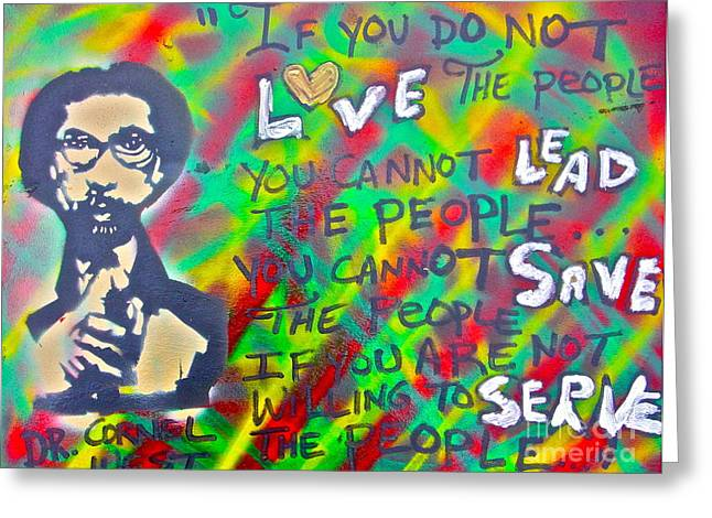 Free Speech Greeting Cards - Dr. Cornel West  LOVE THE PEOPLE Greeting Card by Tony B Conscious