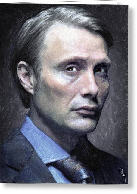 Illustration Greeting Cards - Dr. Hannibal Lecter Greeting Card by Taylan Soyturk