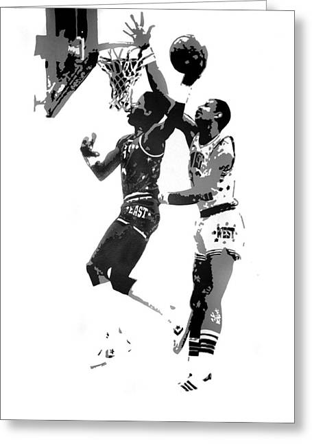 All-star Game Paintings Greeting Cards - Dr. J and Kareem Greeting Card by Ferrel Cordle