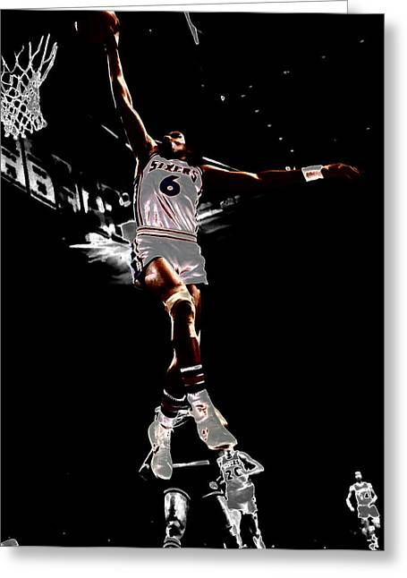 Dr J Greeting Cards - Dr J Slam Greeting Card by Brian Reaves