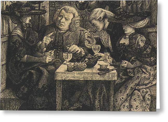 Dictionary Greeting Cards - Dr Johnson at the Mitre Greeting Card by Dante Gabriel Charles Rossetti