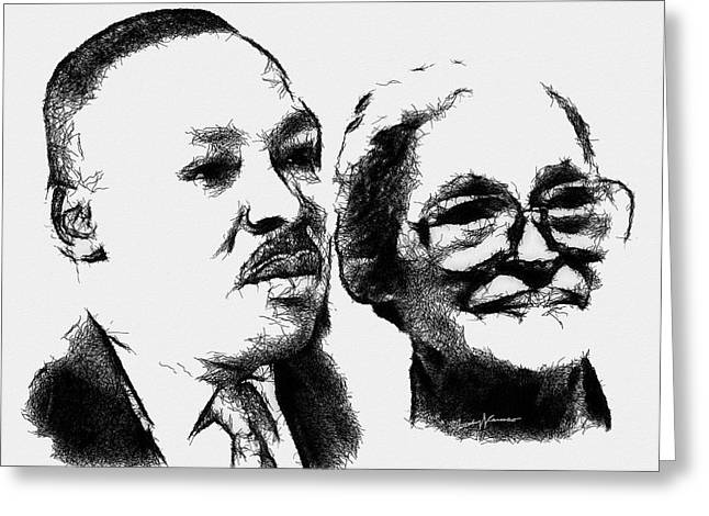 Portrait Digital Greeting Cards - Dr. King and Mrs. Parks Greeting Card by Anthony Caruso