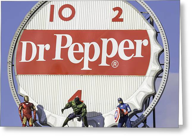 Crime Fighter Greeting Cards - Dr Pepper and the Avengers Squared Greeting Card by Keith Mucha