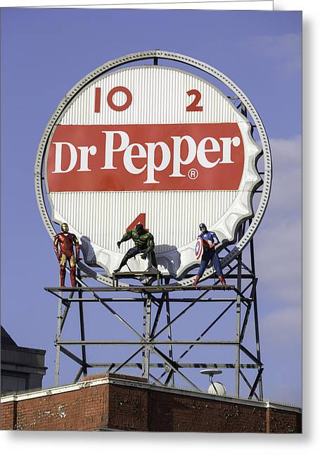 Crime Fighter Greeting Cards - Dr Pepper and the Avengers Greeting Card by Teresa Mucha