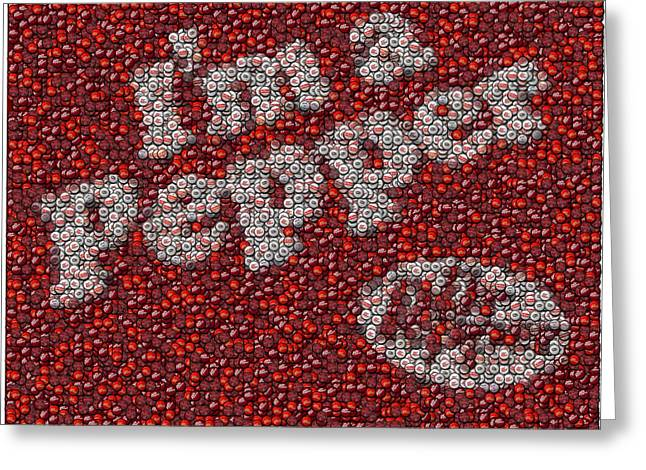 Bottle Cap Greeting Cards - Dr. Pepper Bottle Cap Mosaic Greeting Card by Paul Van Scott