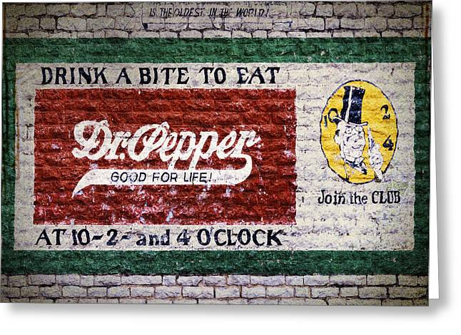 Greeting Cards - Dr Pepper Good For Life Greeting Card by Joan Carroll