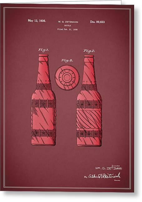 Food And Beverage Greeting Cards - Dr Pepper Patent 1936 Greeting Card by Mark Rogan