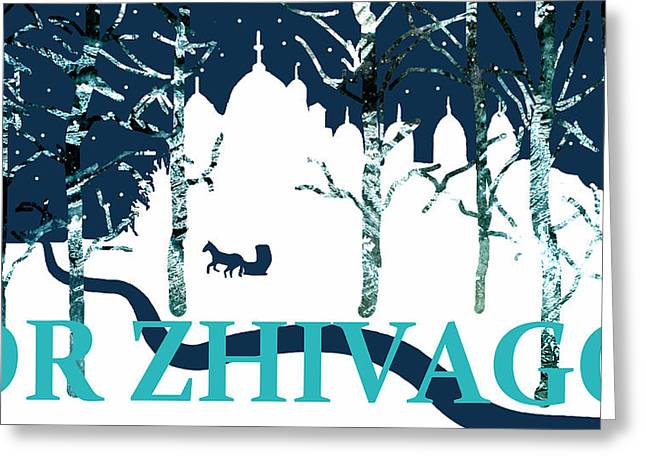 Omar Sharif Greeting Cards - Dr Zhivago With Sleigh Greeting Card by Suzanne Powers