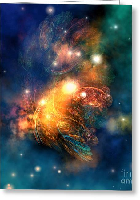 Draconian Nebula Greeting Card by Corey Ford