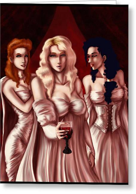 Dracula's Brides Greeting Card by Jessica Gaude