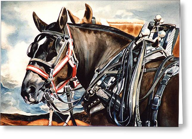 Nadi Spencer Greeting Cards - Draft Mules Greeting Card by Nadi Spencer