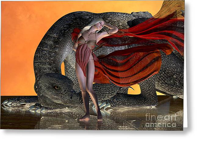 Dragon And Fairy Greeting Card by Corey Ford