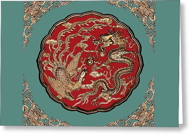 Carved Greeting Cards - Dragon and Phoenix Greeting Card by Kristin Elmquist