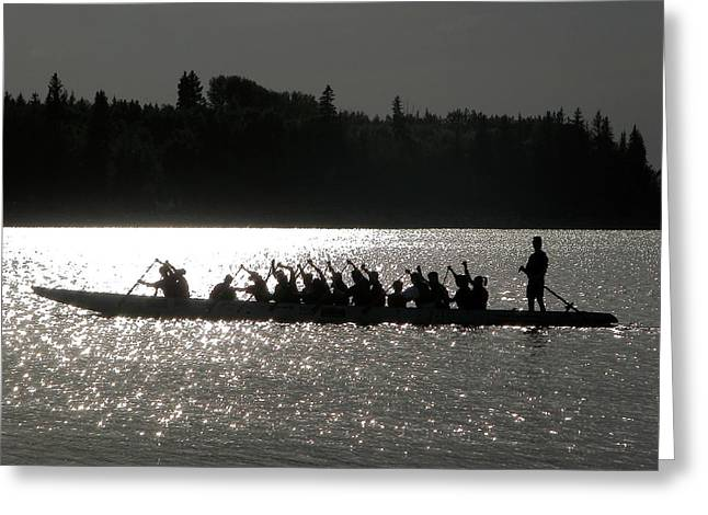 Glenmore Reservoir Greeting Cards - Dragon boat silhouette Greeting Card by Stuart Turnbull
