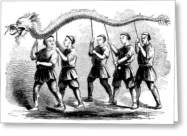 Art Of Dancers Greeting Cards - Dragon Dance, China, 1867 Greeting Card by British Library