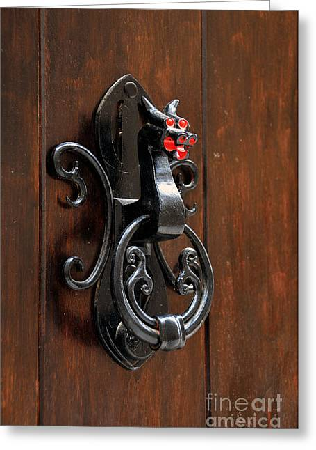Teruel Greeting Cards - Dragon door knocker in Calaceite Greeting Card by RicardMN Photography