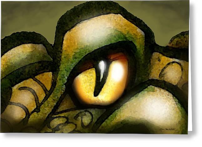 Dragon Greeting Cards - Dragon Eye Greeting Card by Kevin Middleton