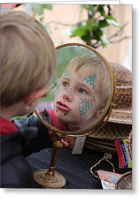 A Hand Mirror Photographs Greeting Cards - Dragon faced boy Greeting Card by Lapis Emerson