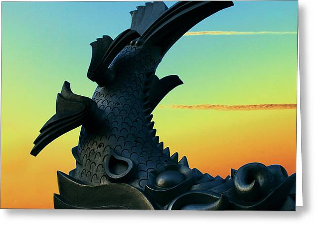 Statue Greeting Cards - Dragon Fish Greeting Card by Courtney Lively