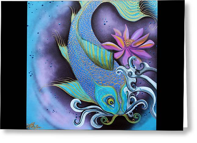 Dragon Fish Greeting Card by Laura Barbosa