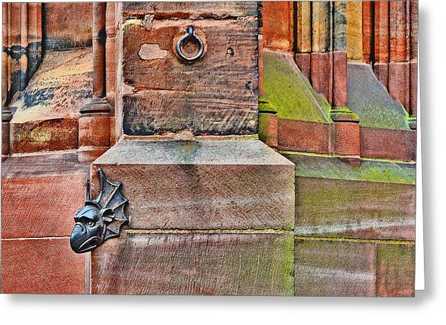 Greek Sculpture Greeting Cards - Dragon head. Strasbourg Cathedral. Greeting Card by Andy Za