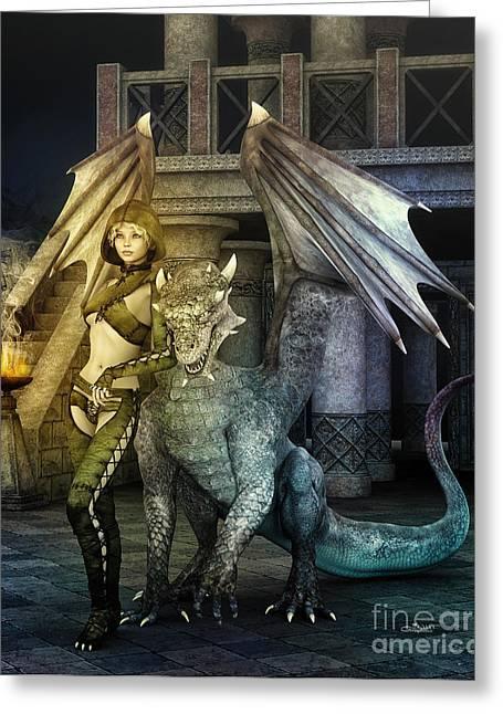 Dragon Lady Greeting Cards - Dragon Lady Greeting Card by Jutta Maria Pusl