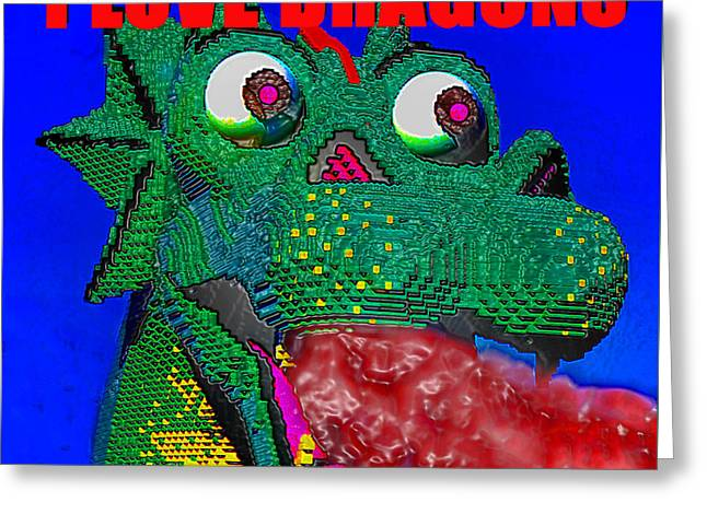Lego Greeting Cards - Dragon Love Greeting Card by David Lee Thompson