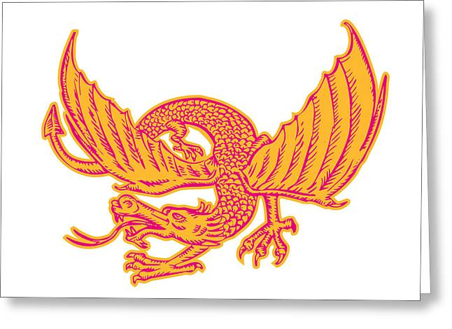 Letterpress Greeting Cards - Dragon Medieval Front Etching Greeting Card by Aloysius Patrimonio