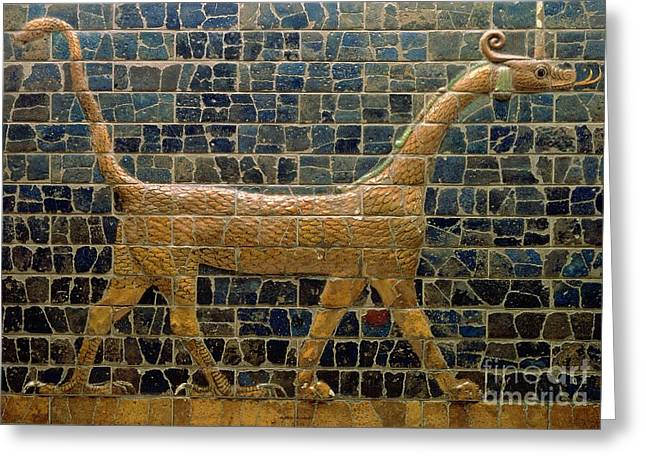 Beast Greeting Cards - Dragon of Marduk - On the Ishtar Gate Greeting Card by Anonymous