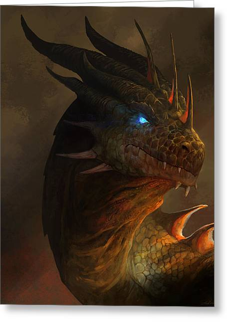 Glowing Mixed Media Greeting Cards - Dragon Portrait Greeting Card by Steve Goad