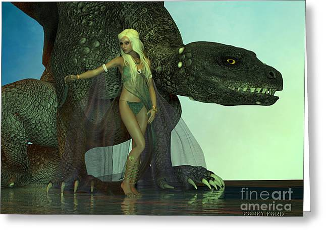 Dragon Protects Fairy Greeting Card by Corey Ford