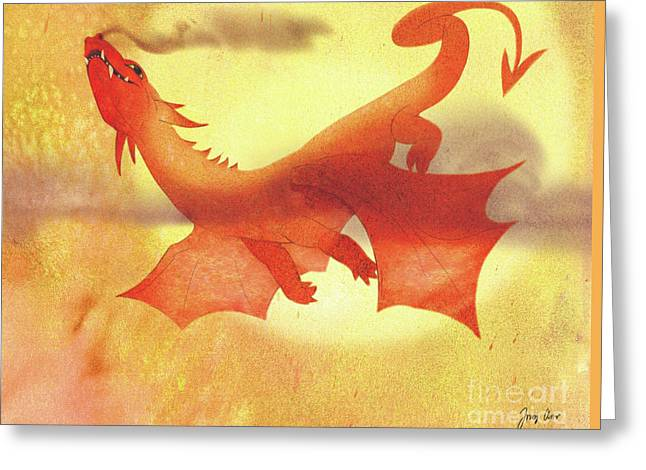 Children Story Book Digital Greeting Cards - Dragon Ride Greeting Card by Tracy Herrmann