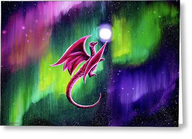 Dragon Soaring Through The Northern Lights Greeting Card by Laura Iverson