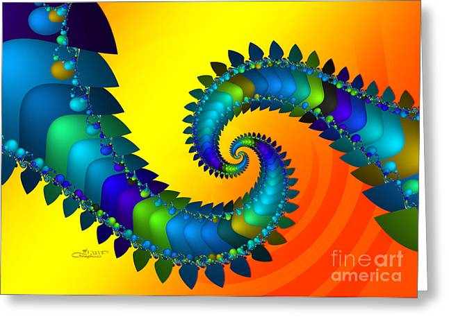 Repetition Greeting Cards - Dragon Tail Meeting Greeting Card by Jutta Maria Pusl