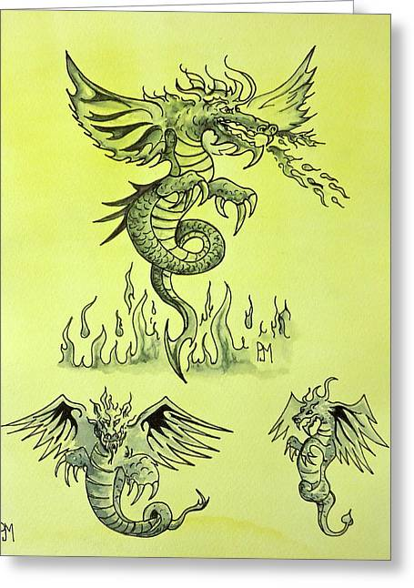 Flash Drawings Greeting Cards - Dragon Tales Greeting Card by Pete Maier