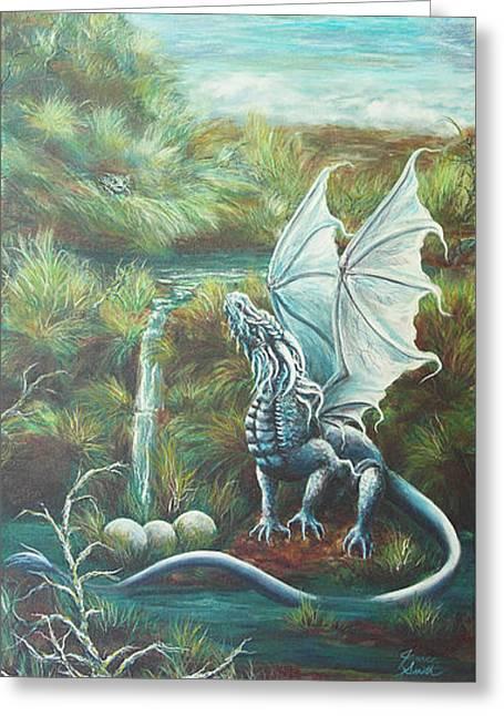 Ocean Vista Greeting Cards - Dragon Vista Greeting Card by Janice Smith