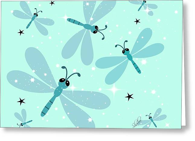White Tapestries - Textiles Greeting Cards - Dragonflies and Stars Greeting Card by Sharon Johnston