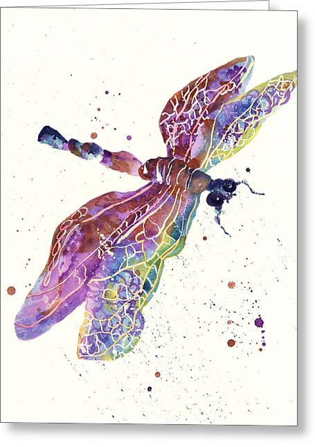 Dragonfly Art Greeting Cards - Dragonfly Drama Greeting Card by Alison Fennell