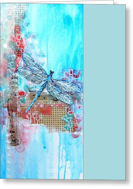 Dragonflies Mixed Media Greeting Cards - Dragonfly Dream Greeting Card by Donna Martin